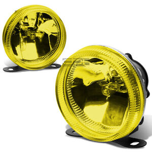 Universal Yellow Lens 3 5 Round Fog Light Lamp Adjustable Mounting Kit W Bulbs