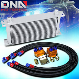 19 Row 10an Silver Aluminum Engine transmission Oil Cooler black Relocation Kit