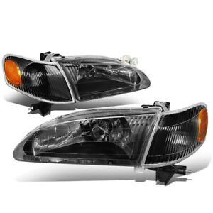 Fit 98 00 Toyota Corolla Pair Black Housing Amber Corner Driving Headlight lamps