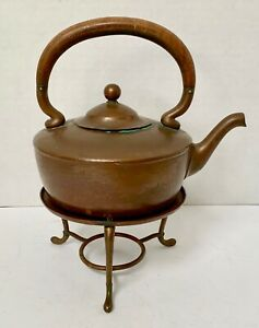 Vintage Gorham Co Brass Copper Wood Teapot With Stand No Warmer