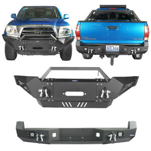 Black Rear Bumper Front Bumper W Led Lights D Rings Fit Toyota Tacoma 05 15