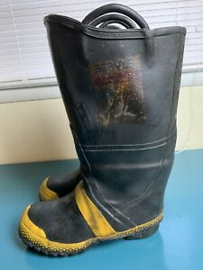 Servus Firebreaker Firefighter Turn Out Gear Steel Toe Rubber Boots Size 10w