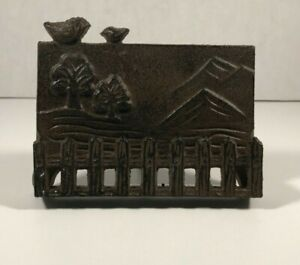 Cast Iron Nature Themed Business Card Holder Home Business Office Decor