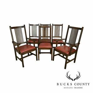 Stickley Mission Collection Oak Set 6 Spindle Dining Chairs