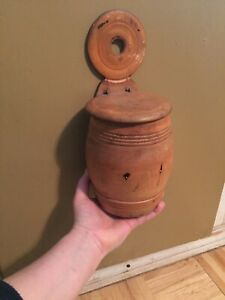 Mid 19th Century Maple Wood Sugar Wall Box W Hinged Lid Lollipop Form Hanger