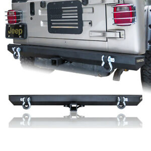 Rock Crawler Rear Bumper With 2 Hook Receivers For 87 06 Jeep Wrangler Tj