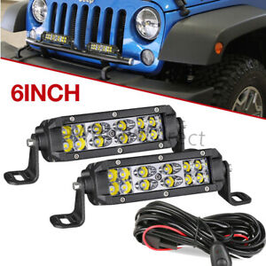 Slim 6in 120w Led Light Bar Spot Dual Row Driving Backup Lamp Offroad 4wd Wiring
