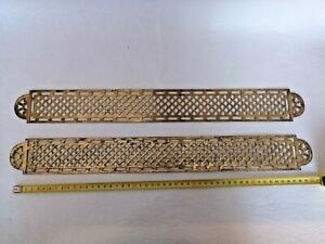 Antique Pair Of Larges French Vintage Brass Door Push Plates