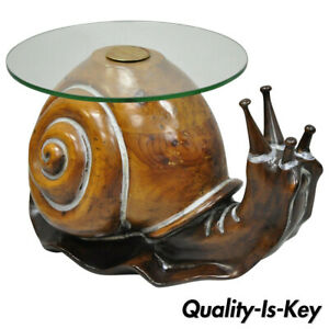 Federico Armijo Carved Wood Round Glass Top Whimsical Snail Side Table