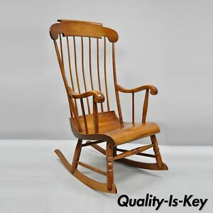 Vintage Nichols Stone Cherry Wood Spindle Back Colonial Rocker Rocking Chair