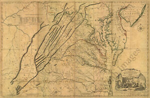 Map Of The Most Inhabited Part Of Virginia C1755 36x24