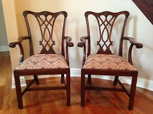 Fine Set Six Henkel Harris Chippendale Dining Chairs C1990 Mahogany 2 Arm 4 Side