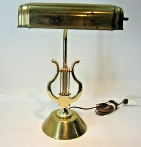 Vintage Brass Piano Lamp Bankers Light Musical Symbol
