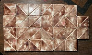 52 Pcs Victorian Ceramic Art Tiles C 1900 Trent Trenton Nj Triangle Small Brown
