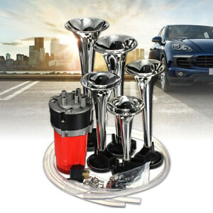 5 Trumpets Car Truck Trailer Air Horn Kit Loud Electronic Musical Sound 125db