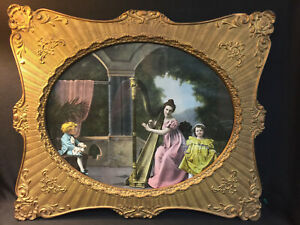 Antique French Gold Gilt Gesso Large Lithograph Victorian Picture Wooden Frame
