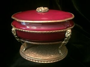 Sevres Style Oxblood Red Porcelain Box With French Bronze Mount