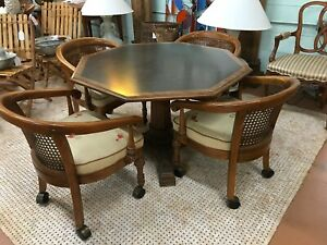 1960 S Game Pedestal Table 4 Matching Upholstered Caned Back Chairs Pristine