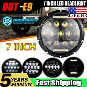 7 Dot 105w Round Led Headlight Hi Lo Beam Bulb For Jeep Wrangler Jk Tj Black
