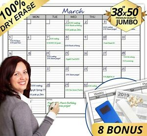 Work Planner Calendar Dry Erase Board 2019 Monthly Weekly Task Office Whiteboard
