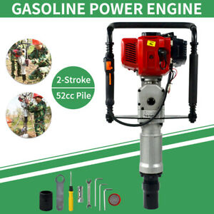 2stroke 52cc Gas Power T post Driver Gasoline Engine Fence Post Hammer Push Pile
