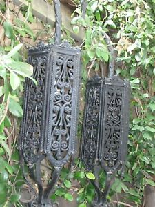 Antique Spanish Revival Large Pair Of Iron Wall Lights