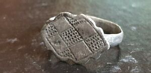 Late Viking Medieval Silver Ring With Cross 9th 10th Century Ad