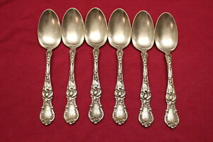 6 Antique Wallace Floral Silverplate 6 Teaspoons Monogrammed W