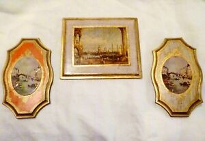 3 Vintage Italian Florentine Art Print Wall Plaques Seaport Ships Venice Canals