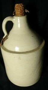 Old Stoneware Whiskey Jug Antique Crock With Corn Cobb Stopper