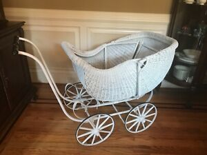 Antique Wicker Baby Carriage White 101 Years Old 48 Long X 24 Wide