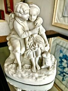 Antique Auguste Moreau For Sevres Attributed White Bisque Figural Man Woman Dog
