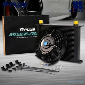 Universal 30 Row 10an Engine Transmission Racing Oil Cooler 7 Cooling Fan Kit