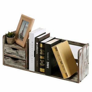 Distressed Torched Wood Desktop Bookshelf Organizer With 2 Storage Drawers