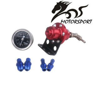 Tomei Universal Car Adjustable Fuel Pressure Regulator With Gauge Red