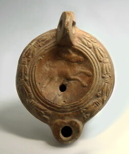 Roman Terracotta Oil Lamp Depicting A Stag M455