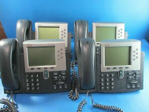 Lot Of 4 Cisco Cp 7961 Ip Display Phones Used
