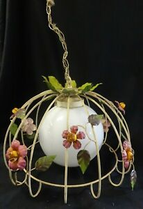 Mid Century Hanging Kitchen Or Porch Fixture Metal Flowers Leaves W Globe Light
