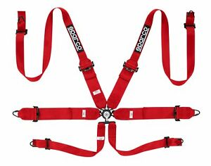 Sparco Competition 6 Pt Hans 3 2 Steel Red Harness 04818rhrs