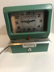 Acroprint 150lr3 Automatic Mechanical Time Clock Machine Tested Works