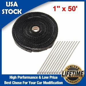 Universal Exhaust Heat Wrap With Stainless Locking Ties For Motorcycle Car Heat