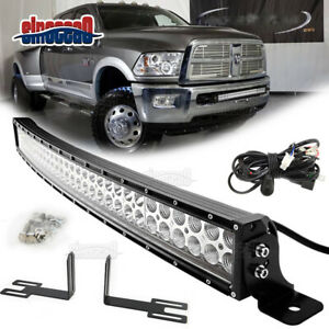 For 2003 Up Dodge Ram 2500 3500 32 180w Led Curved Light Bar With Mount Kit