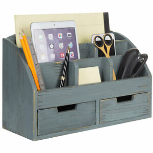 Mygift 6 compartment Distressed Dark Grey Wood Desk Organizer With 2 Drawers