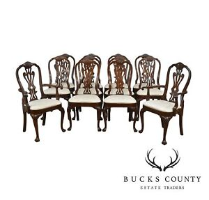Councill Set 12 Solid Mahogany Philadelphia Queen Anne Dining Chairs