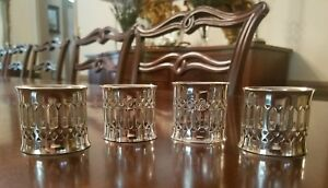 Vintage Silver Plated Reticulated Pierced Napkin Rings Set Of 4
