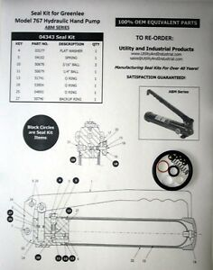 Seal Kit Greenlee 04343 For Model 767 Hand Pump abm Series