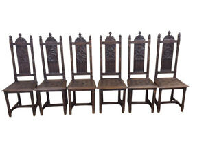 Unique Set Of Six French Gothic Dining Chairs Carved Seats 19th Century Oak