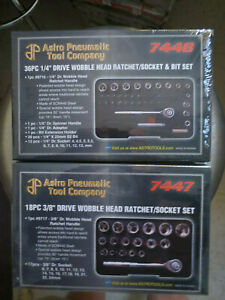 Astro Pneumatic 7447 And 7448 Wobble Head Ratchet Sets 1 4 And 3 8in Drive