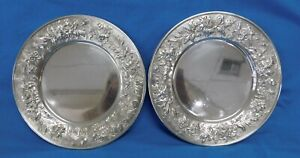 2 S Kirk Son Sterling Silver Repousse Bread Butter Plates 127f J1258
