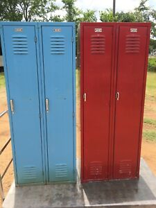 Yellow Red Or Blue Old Vintage Metal Steel Lockers School Gym Athletic Antique